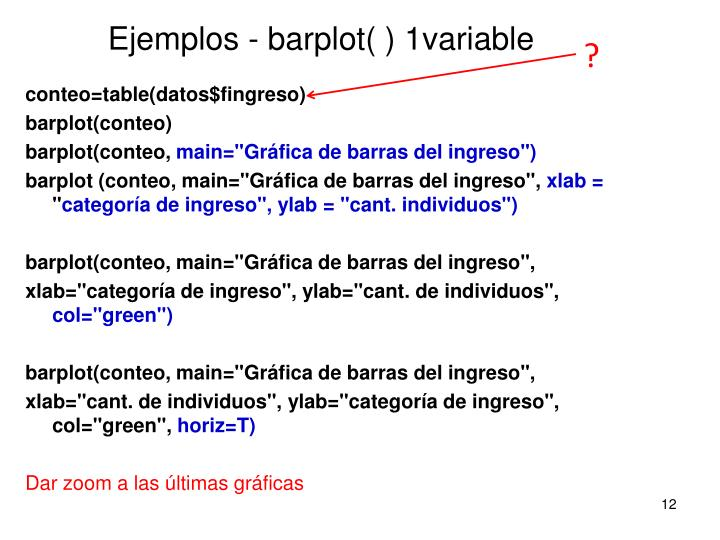Ejemplos - barplot( ) 1variable