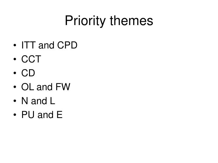 Priority themes