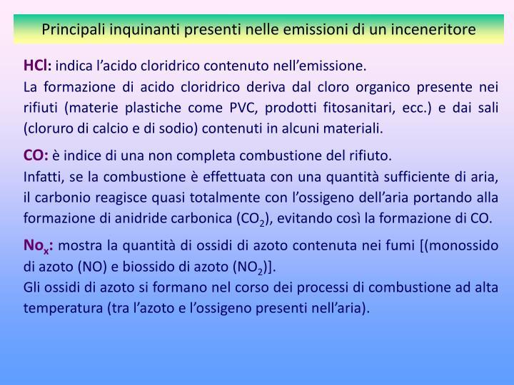 Principali inquinanti presenti nelle emissioni di un inceneritore