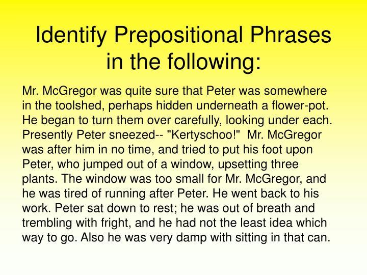 Identify Prepositional Phrases