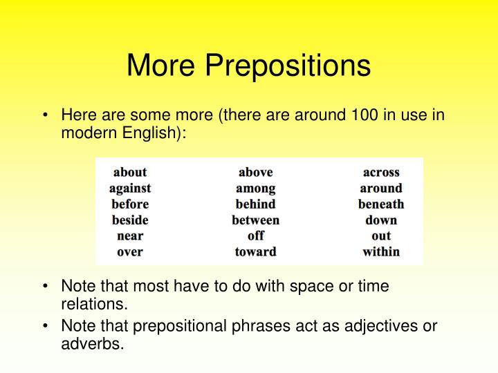 More Prepositions