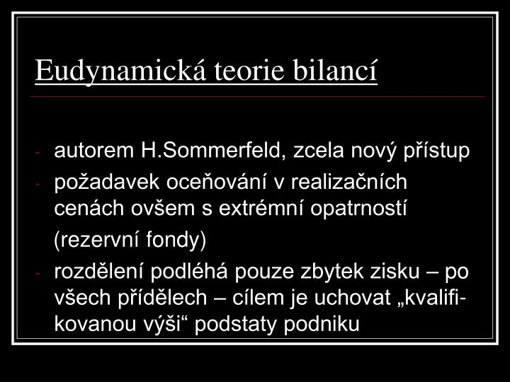 Eudynamická teorie bilancí