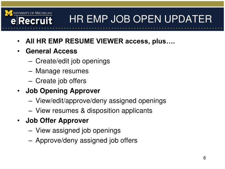 HR EMP JOB OPEN UPDATER