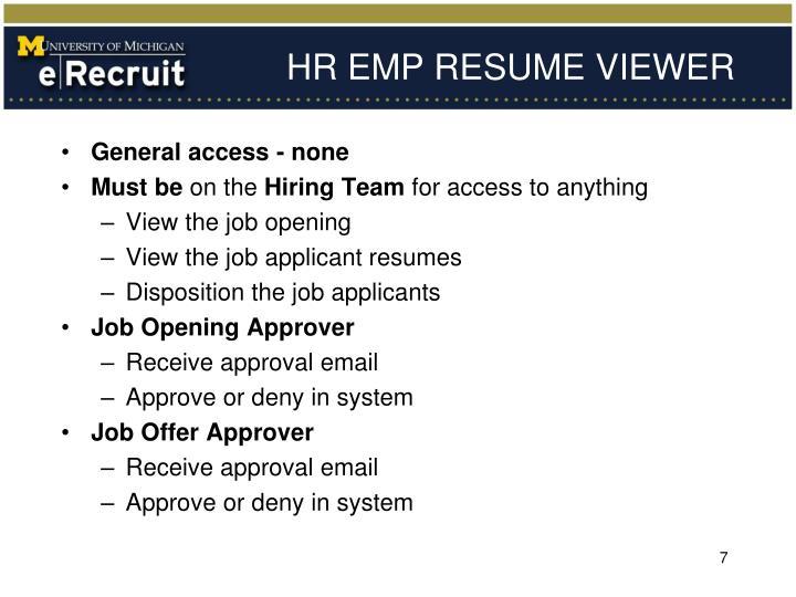 HR EMP RESUME VIEWER