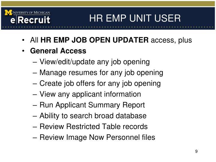 HR EMP UNIT USER