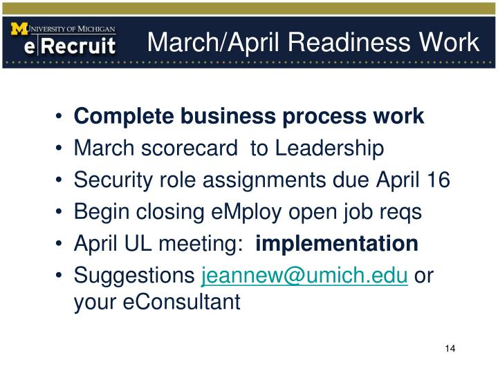 March/April Readiness Work