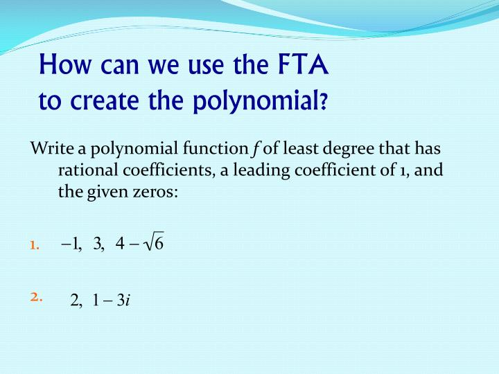 How can we use the FTA