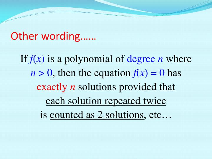 Other wording……