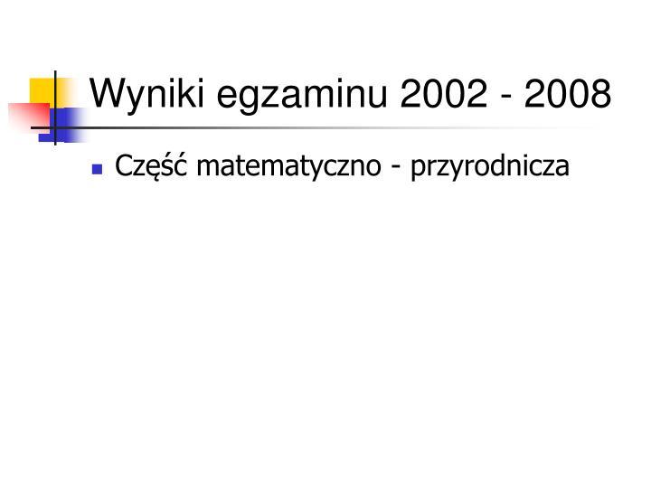 Wyniki egzaminu 2002 - 2008