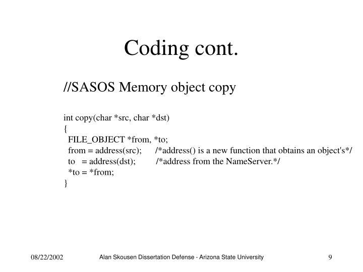 Coding cont.