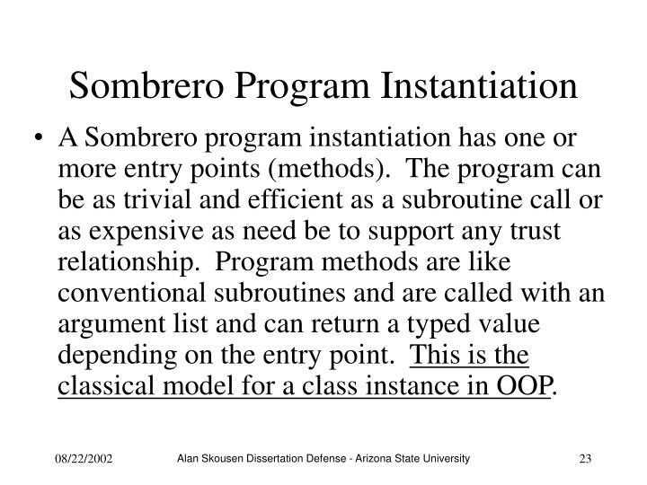 Sombrero Program Instantiation