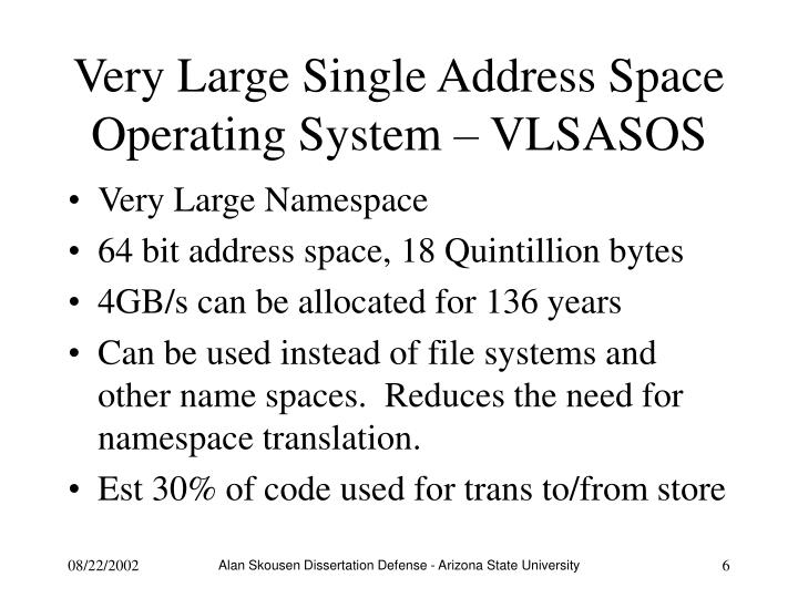 Very Large Single Address Space Operating System – VLSASOS