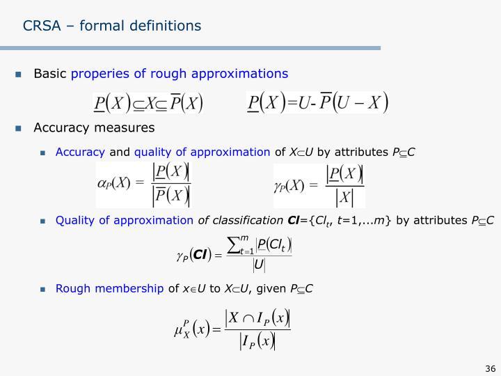CRSA – formal definitions