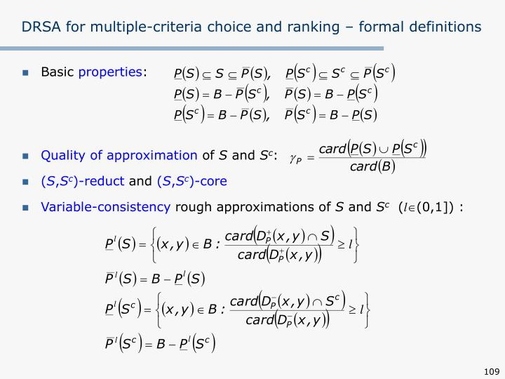 DRSA for multiple-criteria choice and ranking – formal definitions