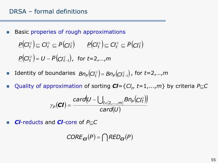 DRSA – formal definitions