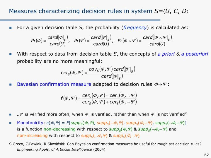 Measures characterizing decision rules