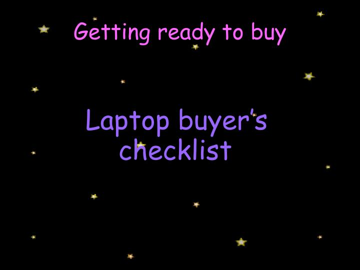 Laptop buyer's checklist