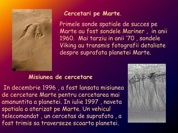 Cercetari pe Marte