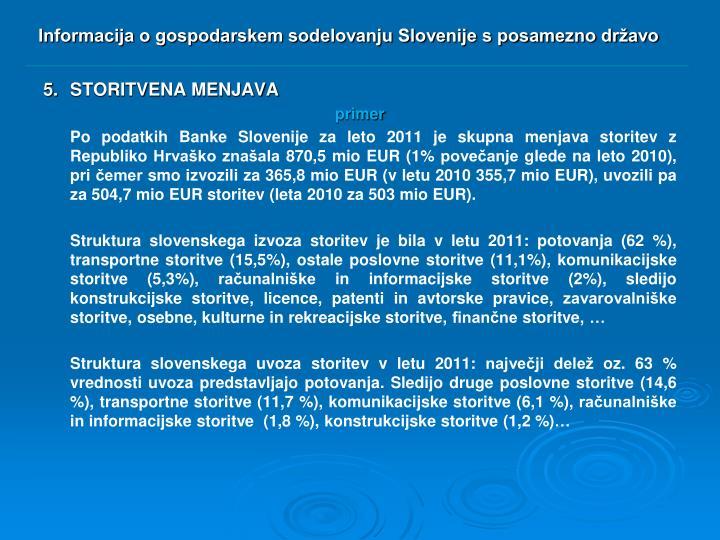 Informacija o gospodarskem sodelovanju Slovenije s posamezno državo