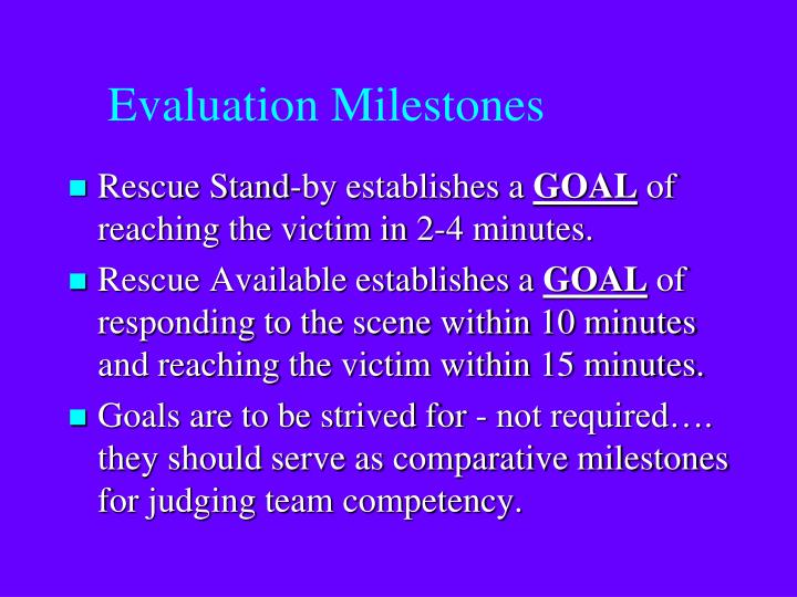 Evaluation Milestones