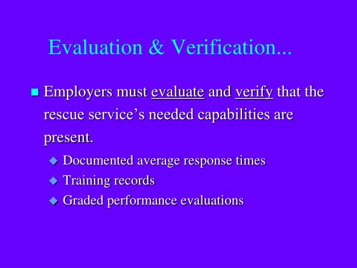 Evaluation & Verification...
