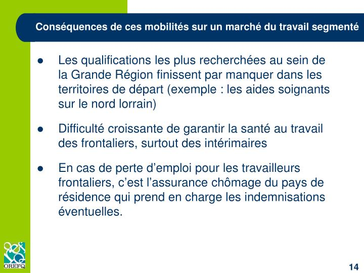 Conséquences de ces mobilités sur un marché du travail segmenté