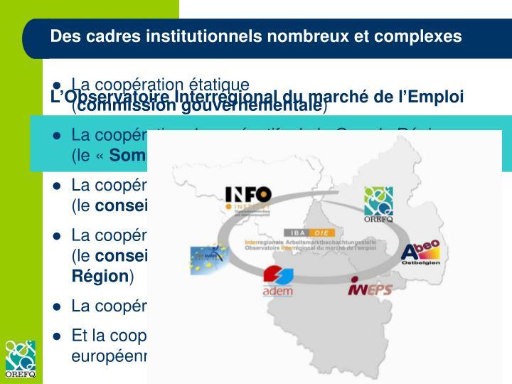 Des cadres institutionnels nombreux et complexes
