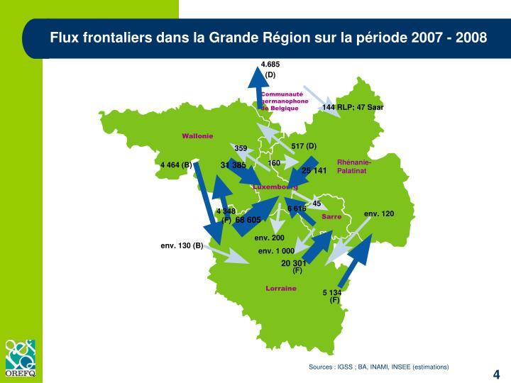 Flux frontaliers dans la Grande Région sur la période 2007 - 2008