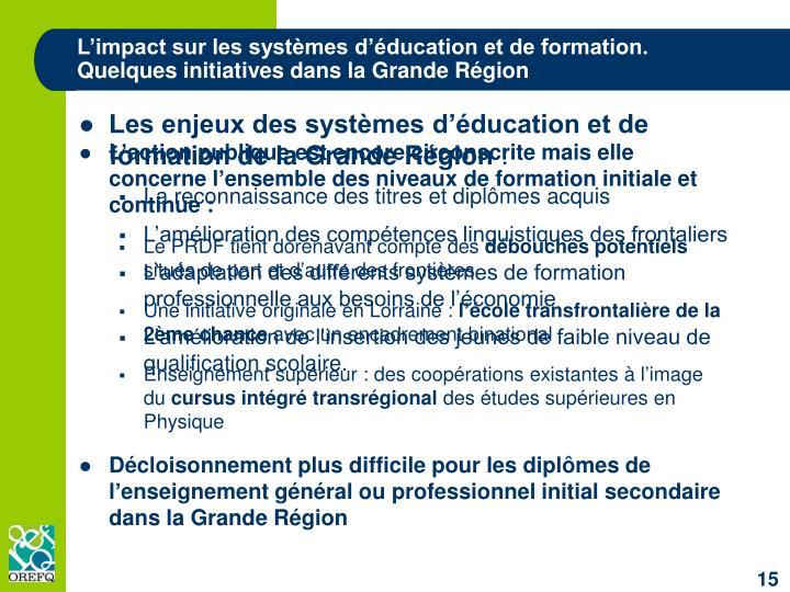 L'impact sur les systèmes d'éducation et de formation.
