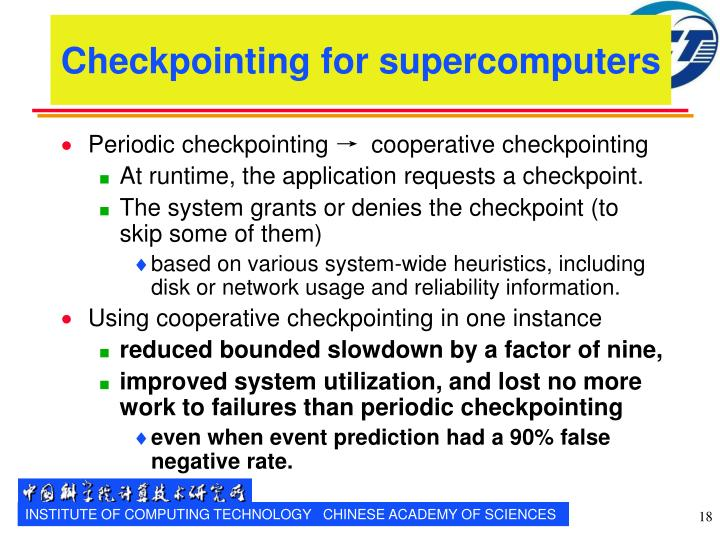 Checkpointing for supercomputers