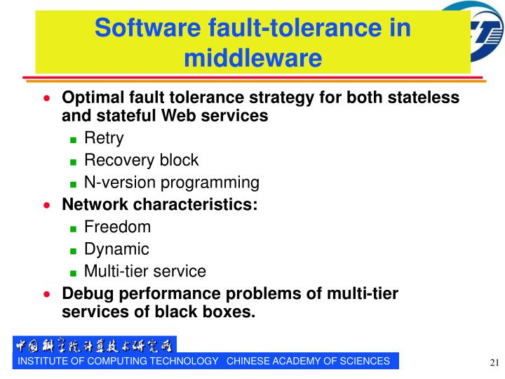 Software fault-tolerance in middleware