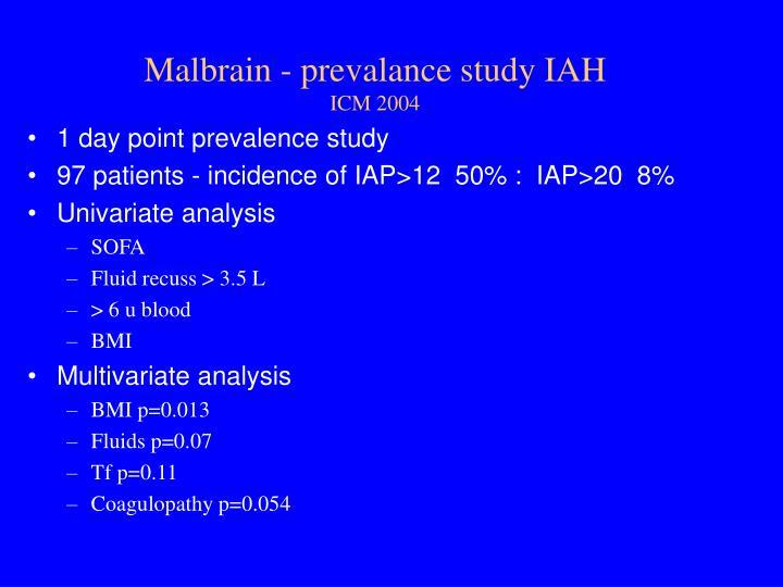 Malbrain - prevalance study IAH