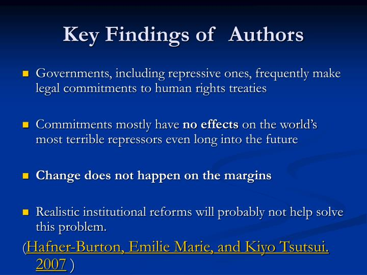 Key Findings of  Authors