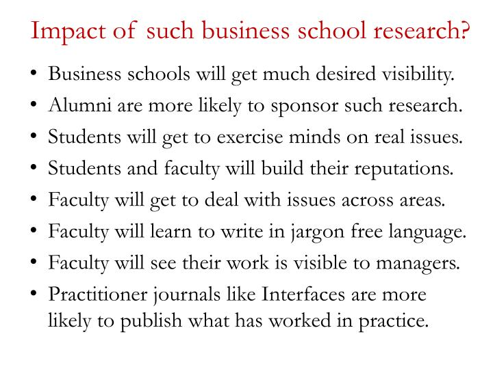 Impact of such business school research?