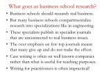 what goes as business school research