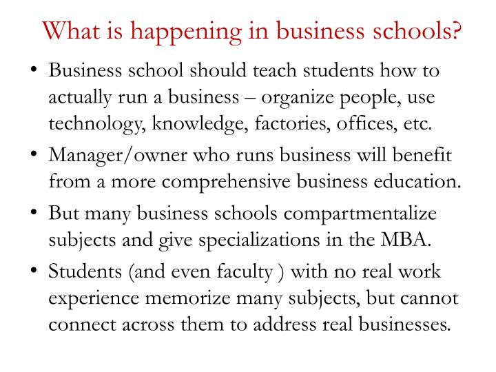 What is happening in business schools?