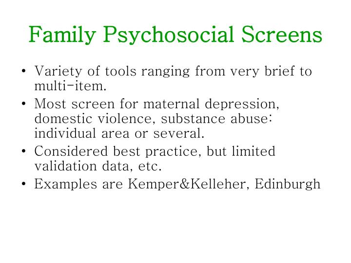 Family Psychosocial Screens