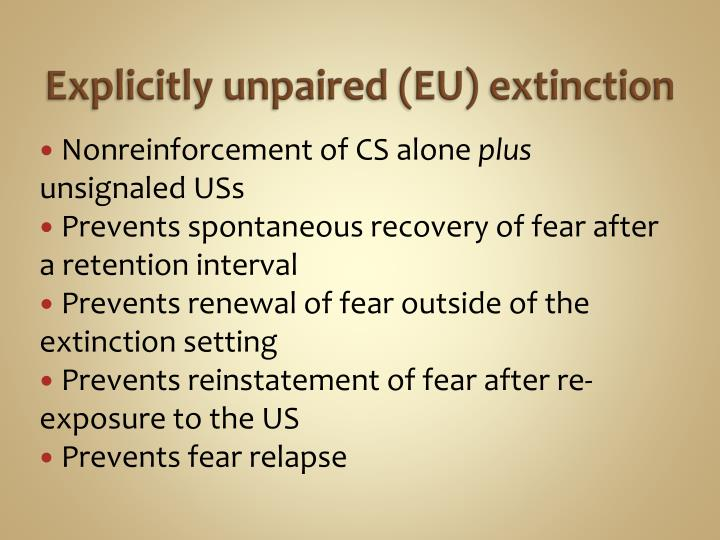 Explicitly unpaired (EU) extinction