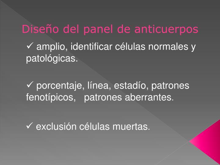 Diseño del panel de anticuerpos