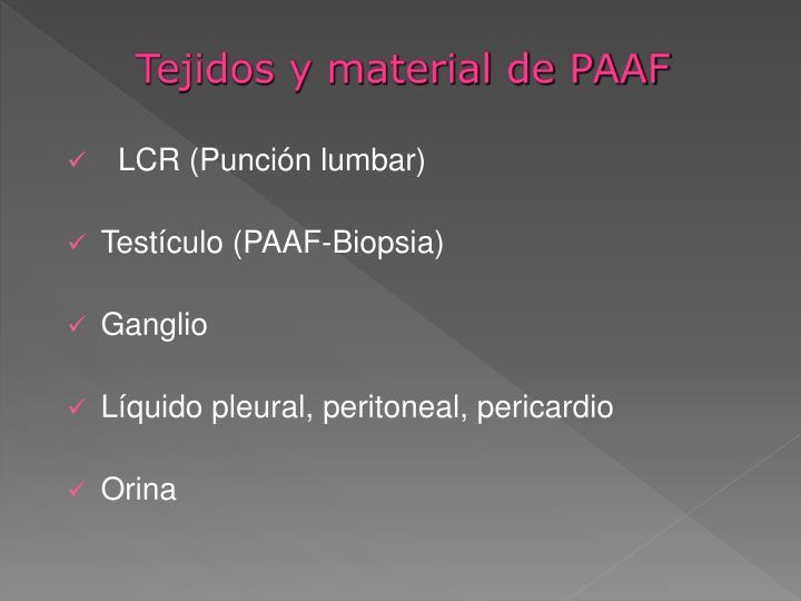 Tejidos y material de PAAF