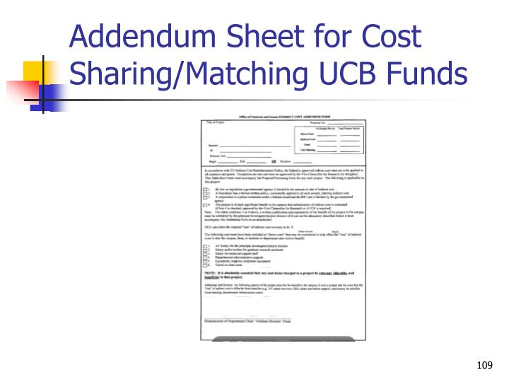 Addendum Sheet for Cost Sharing/Matching UCB Funds