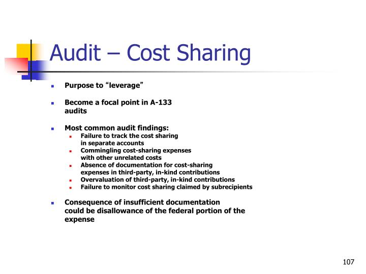 Audit – Cost Sharing