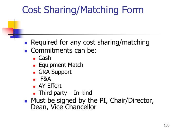 Cost Sharing/Matching Form