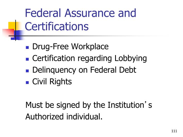 Federal Assurance and Certifications