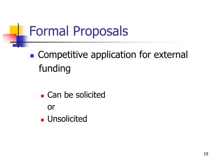 Formal Proposals