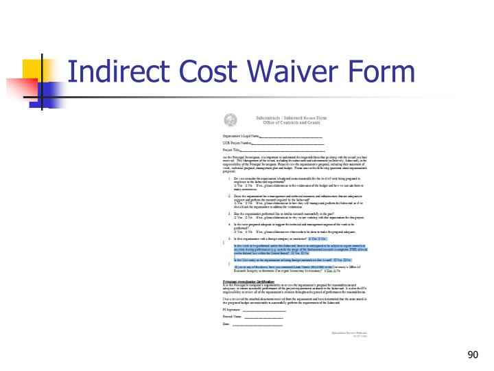 Indirect Cost Waiver Form