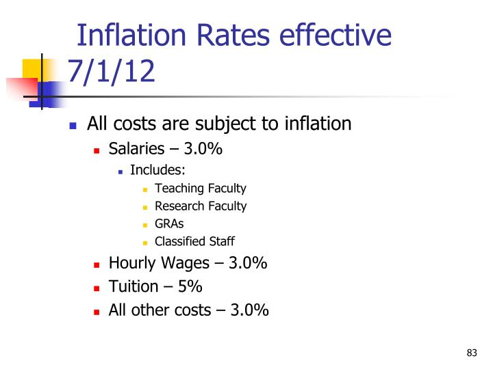Inflation Rates effective 7/1/12