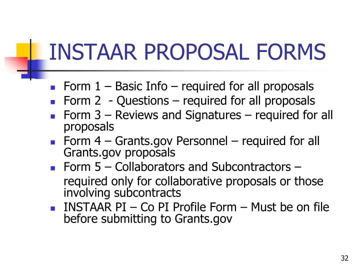INSTAAR PROPOSAL FORMS