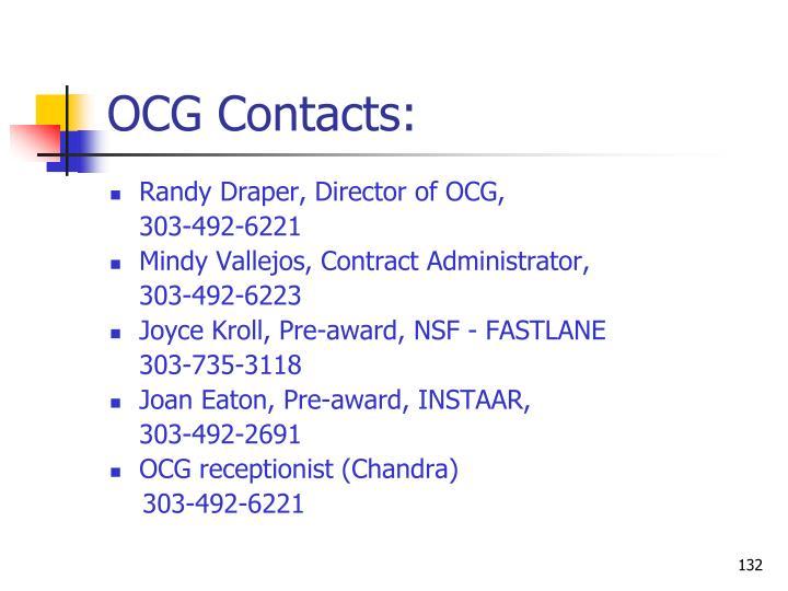 OCG Contacts: