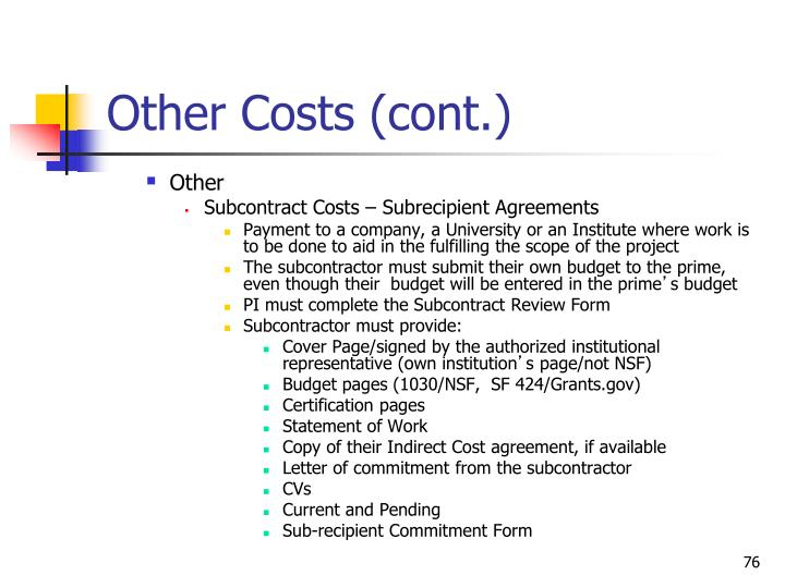 Other Costs (cont.)